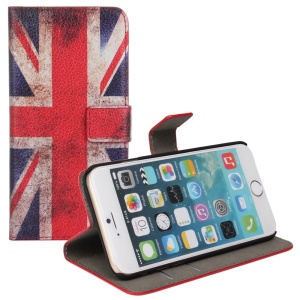 Litchi UK Flag Pattern Leather Cover for iPhone 6 / 6s 4.7 inch w/ Stand
