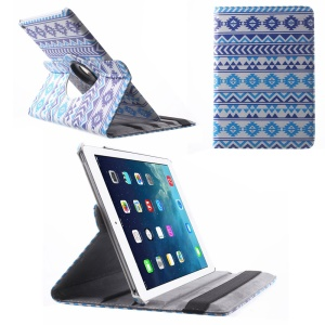 Smart Leather Folio Cover with Swivel Stand for iPad Air 2 Blue Tribal Pattern