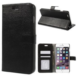 Genuine Full Grain Litchi Skin Wallet Leather Stand Case for iPhone 6 / 6s 4.7 inch - Black