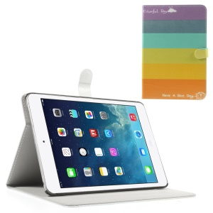 For iPad Mini / Mini 2 / Mini 3 Silk Leather Magnetic Stand Case - Rainbow Stripes