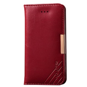 KLD Royale II Series for iPhone SE 5s 5 Genuine Full Grain Leather Stand Case Card Holder - Red