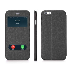 Dual Window Soft Leather Case for iPhone 6s / 6 4.7 Inch w/ Stand - Black