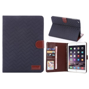 Grid Pattern Smart Wallet Stand Leather Case Cover for iPad mini 1/2/3 - Blue