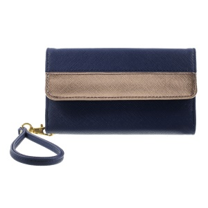 Multiple Slots Leather Pouch Wallet for iPhone 6 Plus / 6s Plus, Galaxy Note 4 Etc, Size: 16.5 x 8cm - Dark Blue