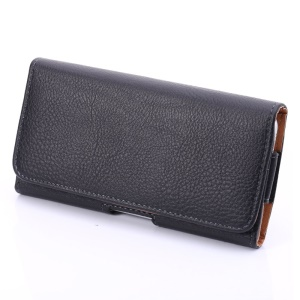 Lychee Texture Hidden Magnetic Flip Waistband Holster para iPhone 6 Plus / 6s Plus Galaxy Note 8 - Preto