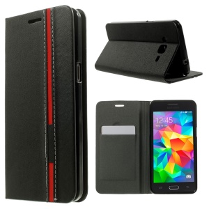 Dois-capa Folio Leather Stand para Samsung Galaxy Grand Prime SM-G530H - negro