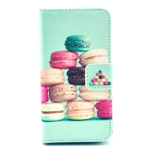 For iPhone 4 4s Protective PU Leather Wallet Shell Stand - Macarons