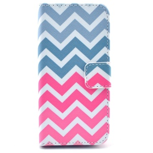 Colorful Stripes Magnetic Leather Card Holder Case for iPhone 5s 5