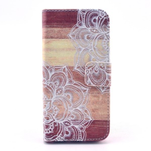 Flowers & Board Leather Magnetic Case w/ Stand for iPhone 5s 5