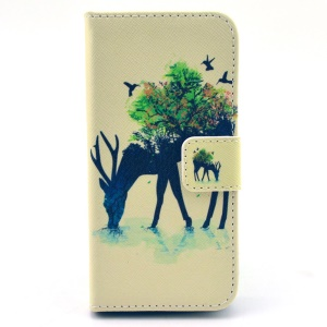 Deer & Tree Leather Wallet Case for iPhone 5c w/ Stand