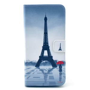 Eiffel Tower & Girl Pattern Leather Cover Case for iPhone 6 w/ Stand Card Holder