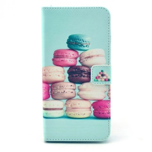 Colorful Macarons Pattern Leather Cover Case for iPhone 6 w/ Stand Card Holder