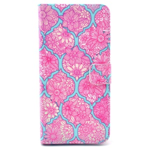 Pink Flowers Pattern Magnetic Leather Wallet Cover for iPhone 6 w/ Stand & Card Slots