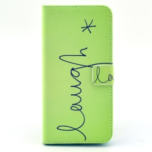 "Letter ""Laugh"" Pattern Magnetic Flip Leather Cover for iPhone 6 Plus w/ Stand & Card Slots"