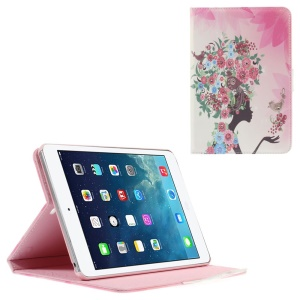 Smart Leather Stand Case for iPad Mini 1 / 2 / 3 - Rhinestone Flowered Girl with Birds