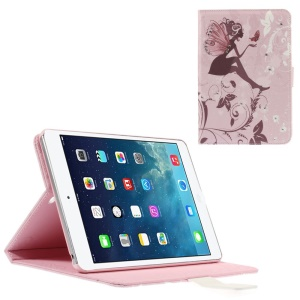Smart Leather Stand Shell for iPad Mini 1 / 2 / 3 - Rhinestone Girl with Wings and Butterfly