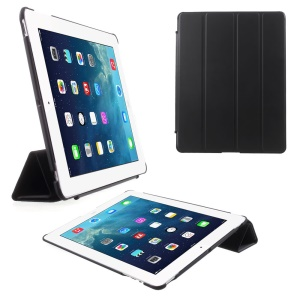 Four-fold Smart Leather Stand Case for iPad 2 3 4 - Black