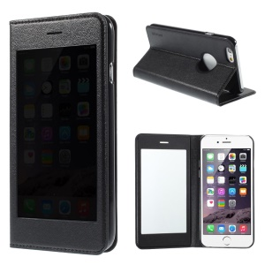 X-FITTED Leather Case for iPhone 6 / 6s 4.7-inch with Anti-peep Privacy Full Touchable Window - Black