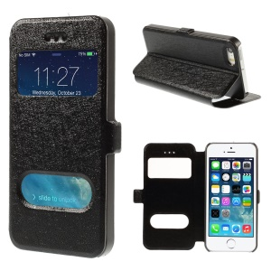 Silk Texture Dual View Window Leather Case for iPhone SE 5s 5 with Stand - Black