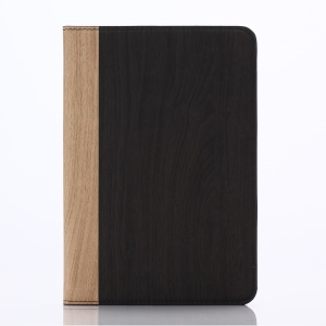 Wood Grain Leather Wallet Stand Case for iPad mini 1 2 3 - Grey