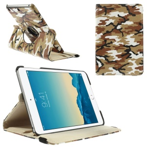 Brown Camouflage Smart Leather Cover para iPad Mini 1 2 3 com suporte giratório de 360 ??graus