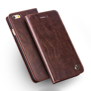 QIALINO Classic Series Top-layer Genuine Wallet Leather Cover for iPhone 6 / 6s 4.7 inch - Brown