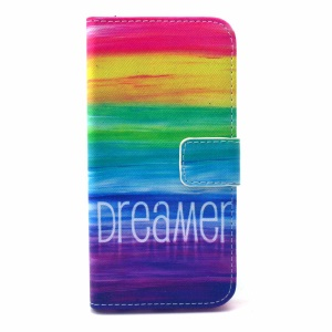 Folio Leather Wallet Phone Protective Case for iPhone 6 - Rainbow Stripes