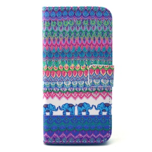 Wallet Leather Phone Case for iPhone 6 - Tribal Elephants