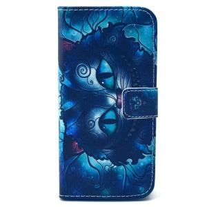 Wallet Leather Phone Shell for iPhone 6 (4.7 inch) - Psychedelic Cat