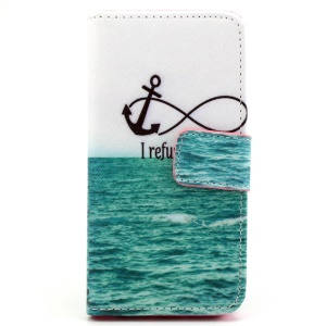Stand iPhone 5 5s Cover with Card Slots - Blue Sea and Anchor