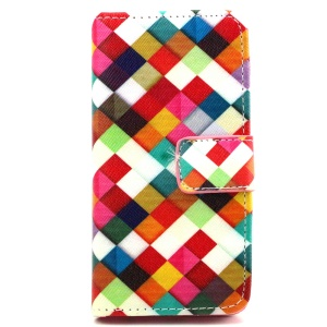 Card Slots Leather Cover for iPhone SE 5s 5 with Stand - Harlequin Pattern