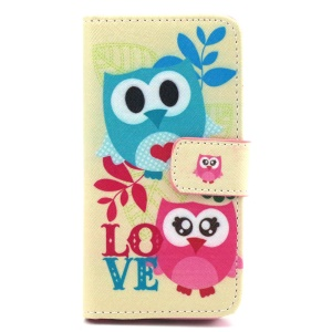 Wallet iPhone 5 5s Cover with Stand - Owl Lovers