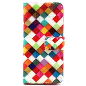 Colorful Checks Wallet Leather Cover for iPhone 6 with Stand