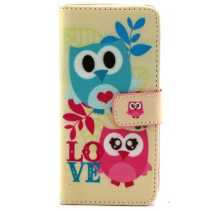 Adorable Owl and LOVE Pattern Magnetic Leather Stand Case for iPhone 6