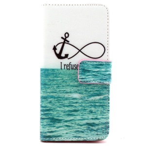 Anchor and I Refuse to Sink Wallet Leather Cover Case for iPhone 6 with Stand