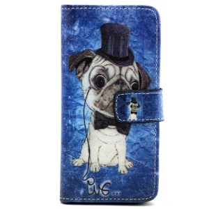 Leather Stand Case for iPhone 6 with Card Slots - Pug Wearing Top Hat and Bowtie