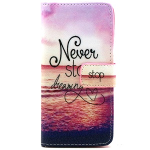 Never Stop Dreaming Magnetic Leather Stand Case for iPhone 6