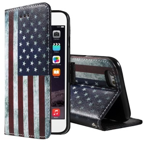 Vintage US Flag Wallet Stand Leather Cover for iPhone 6 Plus