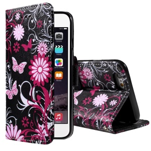 Flower and Butterfly Magnetic Wallet PU Leather Case for iPhone 6 Plus