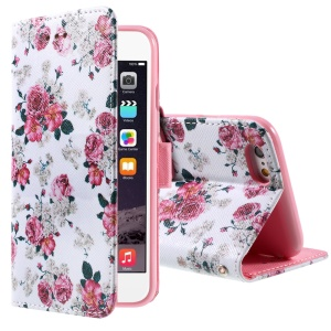 Pretty Peony Wallet Stand Leather Protective Cover for iPhone 6 Plus