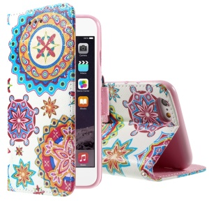 Mandala Flowers Wallet Stand Leather Phone Cover for iPhone 6 Plus