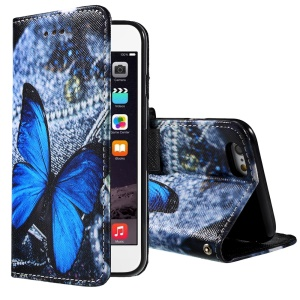 Vivid Blue Butterfly Wallet Stand Leather Shell for iPhone 6 4.7 inch