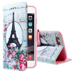 Eiffel Tower and Flower Flip Wallet PU Leather Cover for iPhone 6 4.7 inch