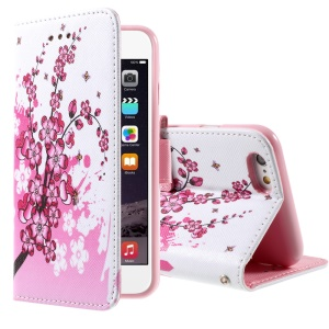 Pink Plum Blossom Stand Wallet Leather Phone Cover for iPhone 6 4.7 inch