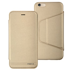 MOSHUO Leather Cover with Stand Card Slot for iPhone 6 4.7 - Gold