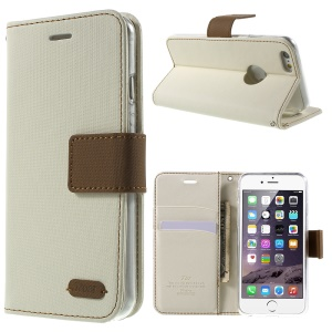 ROAR KOREA Twill Wallet Leather Cover for iPhone 6s 6 4.7 inch - White