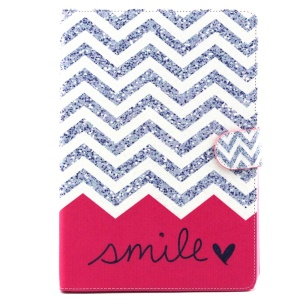 Patterned Wallet Leather Stand Case for iPad Air 2 - Chevron and Smile