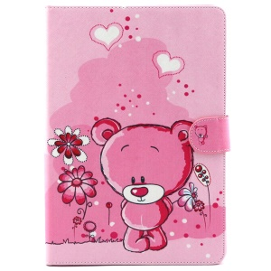 Patterned Wallet Leather Stand Shell for iPad Air 2 - Adorable Bear