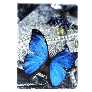 Patterned Wallet Leather Stand Cover for iPad Air 2 - Blue Butterfly