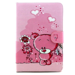 Patterned Wallet Leather Stand Shell for iPad Mini 3 / 2 / 1 - Adorable Bear